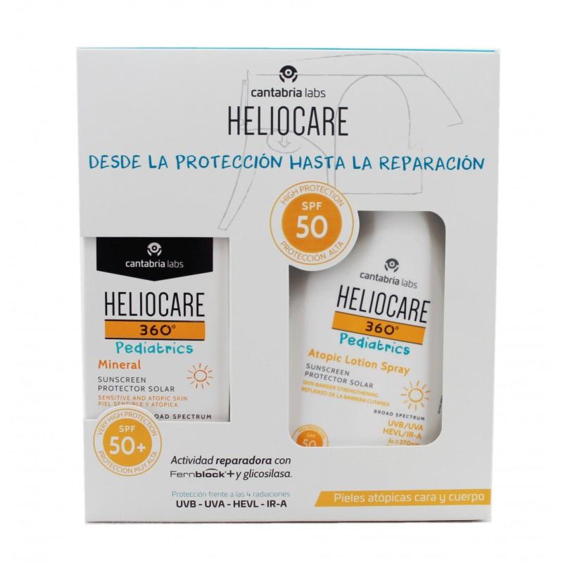 Heliocare 360 Pediatrics Pack Mineral SPF50 50ml + Atopic Lotion Spray SPF50 250ml