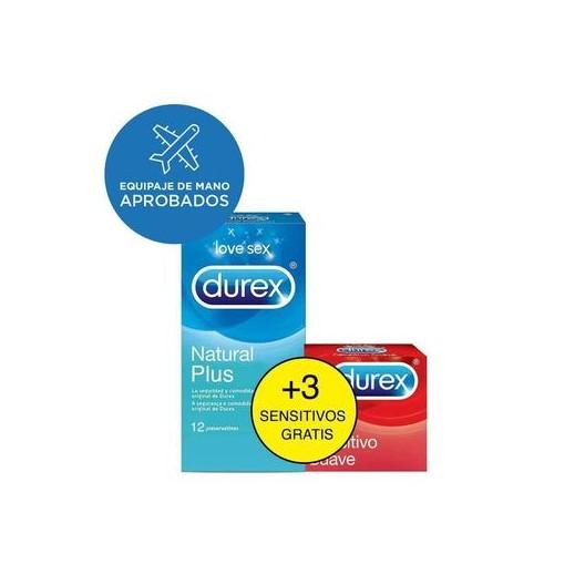 Durex preservativos natural plus 12 unidades + GRATIS 3x sensitivo suave
