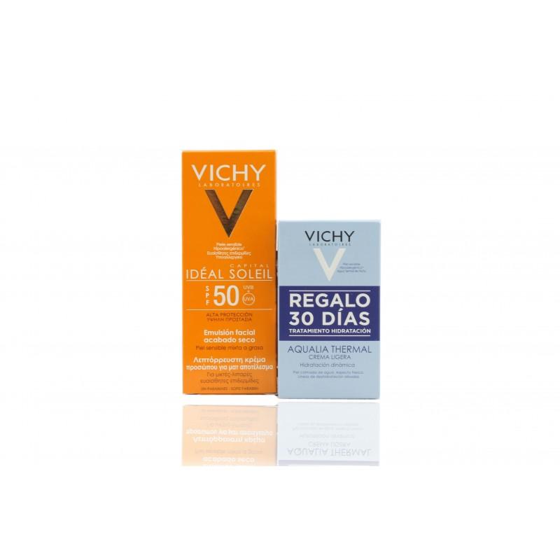 Vichy ideal soleil emulsión facial 50 ml + gratis aqualia termal ligera 29 gr