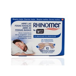 Rhinomer Breathe Right Tiras Nasales Grandes 10 Unidades